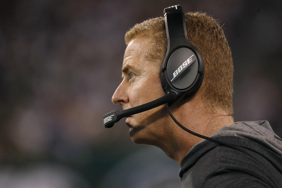 EAST RUTHERFORD, NEW JERSEY - OCTOBER 13: Head coach Jason Garrett of the Dallas Cowboys looks on during the fourth quarter against the New York Jets at MetLife Stadium on October 13, 2019 in East Rutherford, New Jersey. The Jets defeated the Cowboys 24-22. (Photo by Michael Owens/Getty Images)