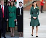 <p>To meet with Jordan's Queen Rania in April, Melania called on Hervé Pierre, the designer of her inaugural ball gown, to make her something beautiful. The bright green color is one that Kate Middleton loves too; she steps out in the shade every St. Patrick's Day. (Photos: Getty Images) </p>