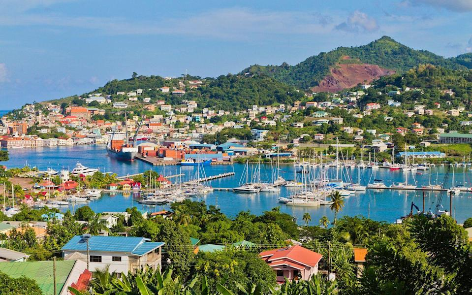 Commercial and tourist docks of St. George's, Grenada - oriredmouse/E+
