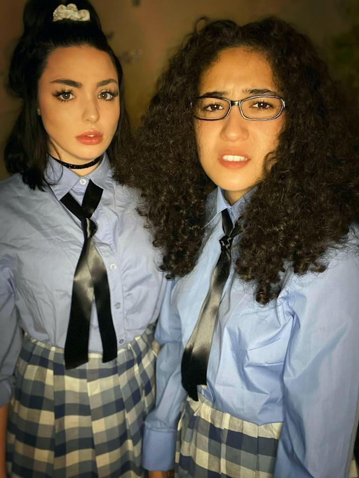 """Two women dressed as Lily Moscovitz and Mia Thermompolis from """"Princess Diaries."""""""