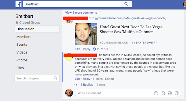 This post in an unverified Breitbart group on Facebook promotes bogus conspiracy theories about the Oct. 1 mass shooting in Las Vegas.