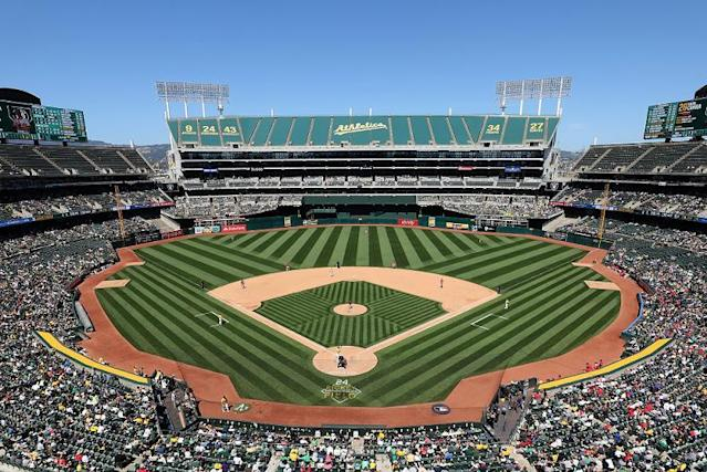 The Oakland Athletics 'Star Wars' themed fireworks show sparked a one-alarm fire near Oakland Coliseum. (AP)
