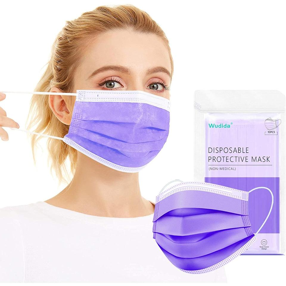 """A disposable mask that offers a pop of color. $24, Amazon. <a href=""""https://www.amazon.com/Disposable-Breathable-Non-Woven-Dustproof-Non-medical/dp/B08BQXZ1H5/ref=sr_1_1"""" rel=""""nofollow noopener"""" target=""""_blank"""" data-ylk=""""slk:Get it now!"""" class=""""link rapid-noclick-resp"""">Get it now!</a>"""