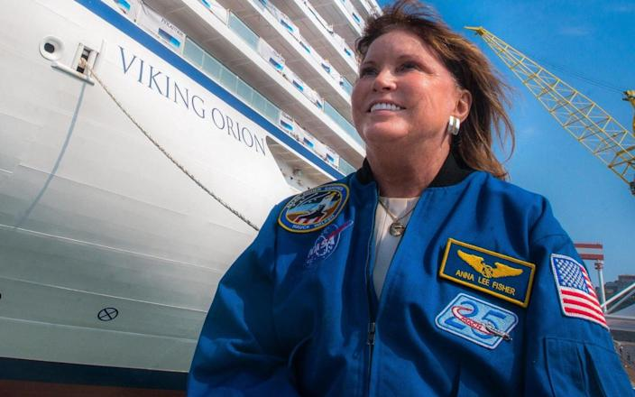 Anna Fisher who has been named godmother of the Viking Orion ship - ALASTAIR MILLER 2012