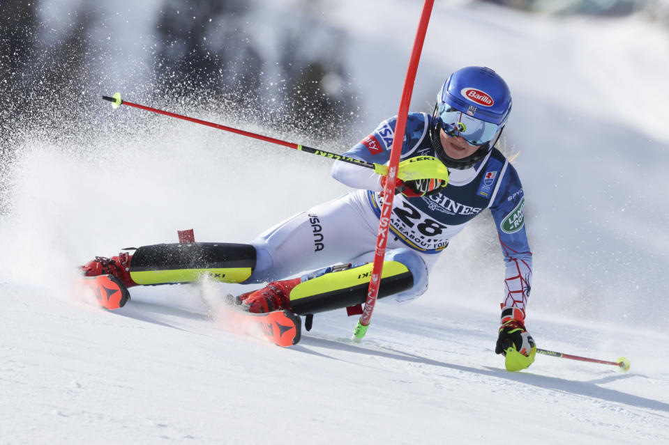 United States' Mikaela Shiffrin competes during the slalom portion of the women's combined race, at the alpine ski World Championships, in Cortina d'Ampezzo, Italy, Monday, Feb. 15, 2021. (AP Photo/Marco Trovati)