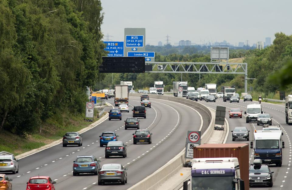 File photo dated 04/07/17 of vehicles on the M3 smart motorway near Longcross, Surrey. Motorists who drive in closed lanes on smart motorways will soon be liable for an automatic ??100 fine and three penalty points.