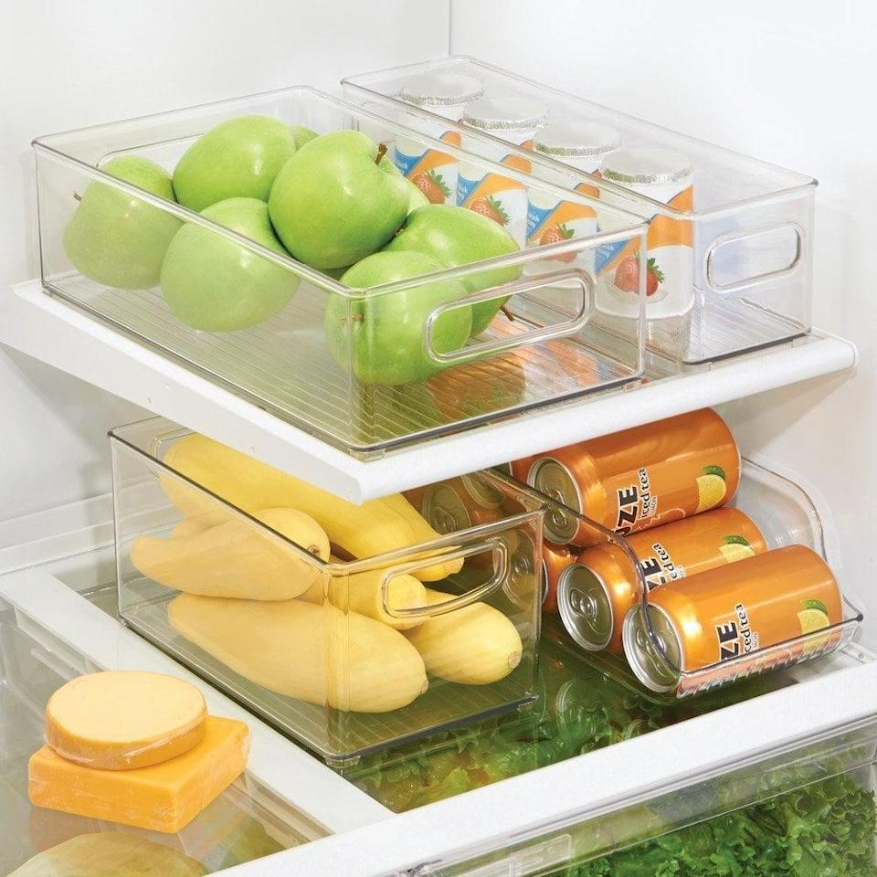<p>These clear <span>LA Parts Home Kitchen Organizer Bins </span> ($13) are also great for the pantry.</p>