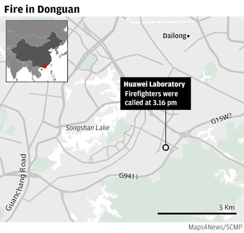 The fire that broke out at a building near Huawei Technologies' research lab in Dongguan was extinguished at 4.50pm on Friday.