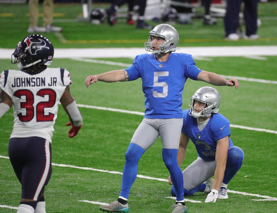 Lions kicker Matt Prater kicks a field goal against the Houston Texans during the second half of the Lions' 41-25 loss at Ford Field Thursday, Nov. 26, 2020.
