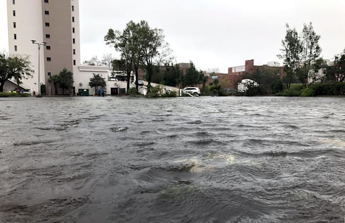 Flooded streets in Wilmington.