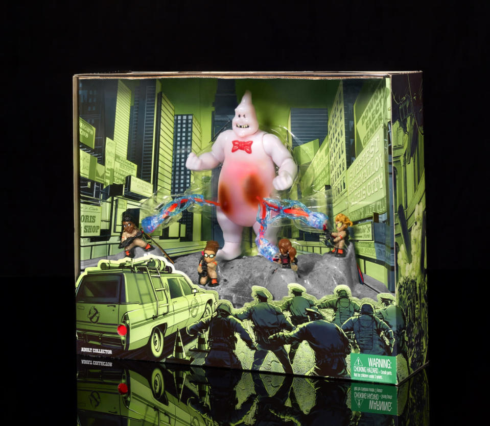 <p>To mark the release of the all-new, all-female <i>Ghostbusters</i>, Mattel's SDCC set features the quartet of 1.5-inch heroes taking on a familiar-looking adversary. Push the button and watch their proton packs erupt into action to the strains of the classic theme song. ($25)</p>