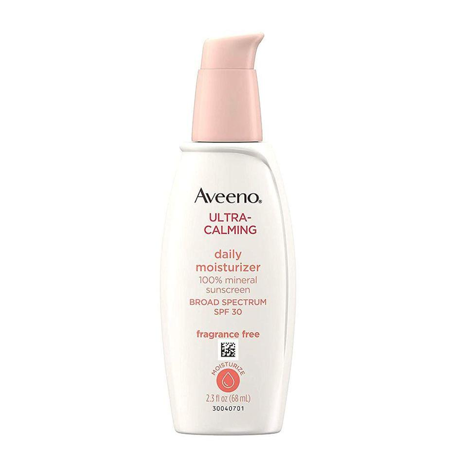 "<p><strong>Aveeno</strong></p><p>amazon.com</p><p><strong>$14.59</strong></p><p><a href=""https://www.amazon.com/dp/B075G41DRV?tag=syn-yahoo-20&ascsubtag=%5Bartid%7C2089.g.36107013%5Bsrc%7Cyahoo-us"" rel=""nofollow noopener"" target=""_blank"" data-ylk=""slk:Shop Now"" class=""link rapid-noclick-resp"">Shop Now</a></p><p>Sensitive-skin types always have to be diligent about the ingredients in their sunscreen, which is why this is our favorite one for those with easily irritated skin.</p><p>This ultra calming sunscreen was made with sensitive-skin types in mind, and works to soothe dry, irritated complexions through nourishing oat extract. It's also fragrance-free, hypoallergenic, oil-free, and noncomedogenic.</p>"