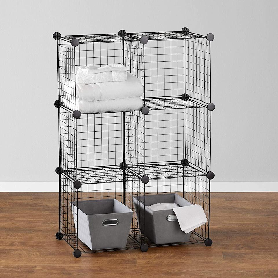 <p>The <span>Amazon Basics 6 Cube Grid Wire Storage Shelves, Black</span> ($30, originally $34) includes 26 plastic corner connectors and 23 grid panels made of powder-coated steel wire so you can stack and design however you want. It has a 10-pound weight capacity per cube and comes in white as well.</p>