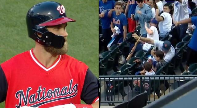 Nationals slugger Bryce Harper checks the stands after his dangerous broken bat nearly struck a young child. (MLB.TV)