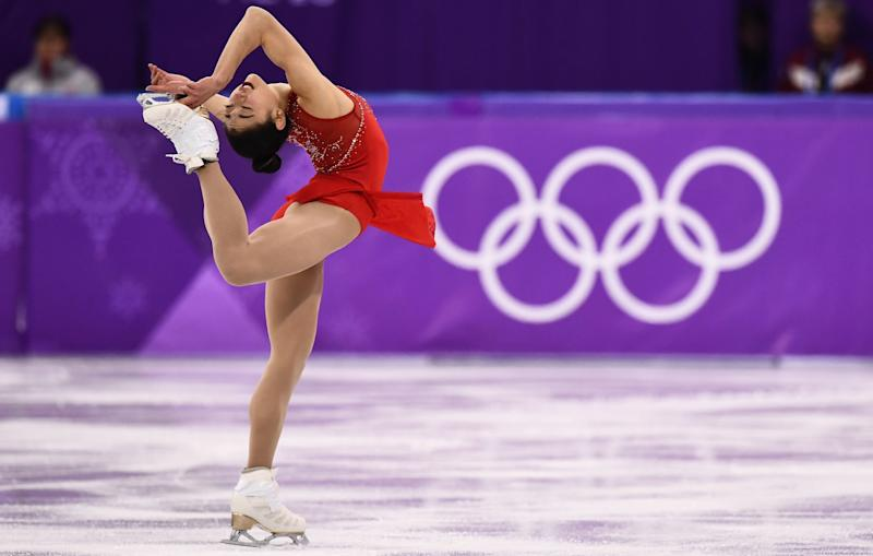 Mirai Nagasu competes in the women's single skating free skating event during the 2018 Winter Olympic Games on Feb. 23, 2018.