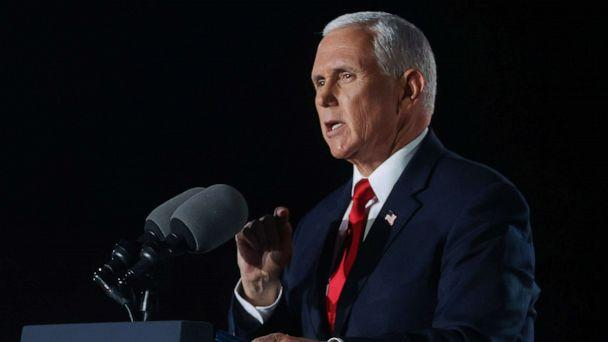 PHOTO: Vice President Mike Pence delivers his acceptance speech during an event of the 2020 Republican National Convention held at Fort McHenry in Baltimore, Aug. 26, 2020. (Jonathan Ernst/Reuters)