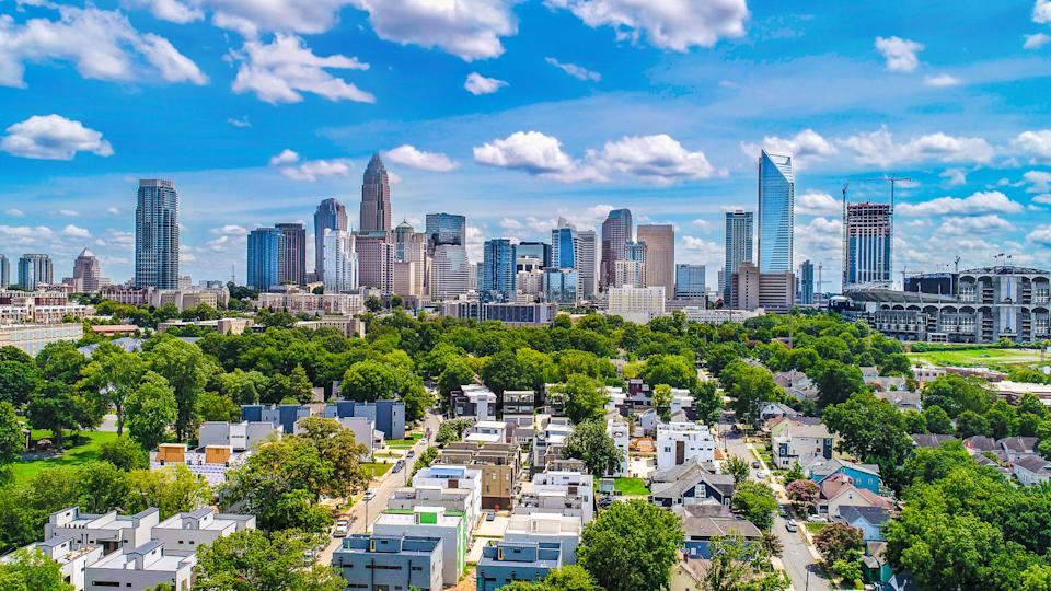 Drone Aerial of Downtown Charlotte, North Carolina, NC, USA Skyline.