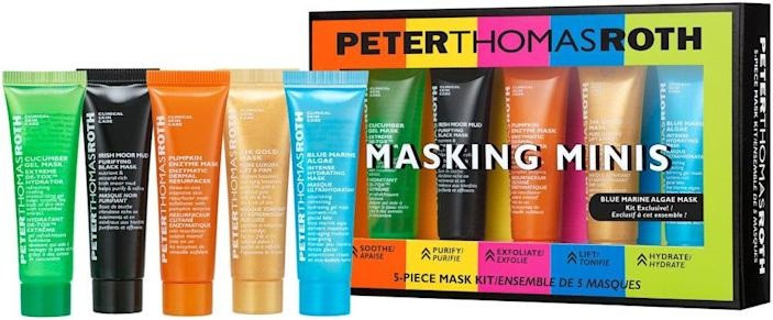 """<h2>Peter Thomas Roth Masking Minis 5-Piece Mask Kit</h2><br>Combine a few of these best-selling masking formulas after a night of cocktails with your quarantine pod, and it'll be like nothing ever happened.<br><br><strong>Peter Thomas Roth</strong> Peter Thomas Roth Masking Minis 5-Piece Mask Kit, $, available at <a href=""""https://go.skimresources.com/?id=30283X879131&url=https%3A%2F%2Fwww.ulta.com%2Fmasking-minis-5-piece-mask-kit%3FproductId%3Dpimprod2019690"""" rel=""""nofollow noopener"""" target=""""_blank"""" data-ylk=""""slk:Ulta Beauty"""" class=""""link rapid-noclick-resp"""">Ulta Beauty</a>"""