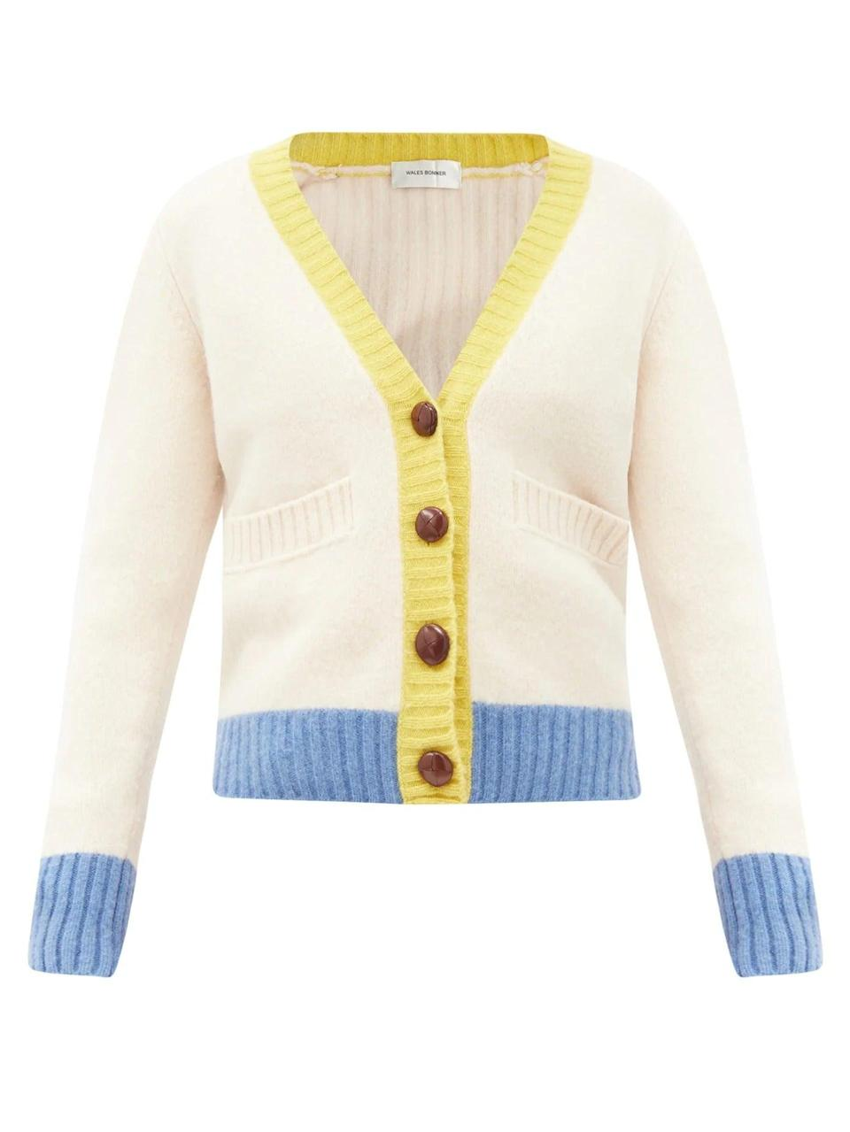 """<br><br><strong>Wales Bonner</strong> Wool V-Neck Cardigan, $, available at <a href=""""https://www.matchesfashion.com/products/Wales-Bonner-Johnson-wool-V-neck-cardigan-1371786"""" rel=""""nofollow noopener"""" target=""""_blank"""" data-ylk=""""slk:Matches Fashion"""" class=""""link rapid-noclick-resp"""">Matches Fashion</a>"""
