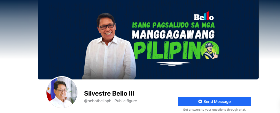 This fake account — no, wait; this is the real Facebook page for Silvestre Bello III, Secretary of Labor