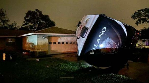 PHOTO: An RV in Polk Country, Florida, sits toppled over by Tropical Storm Nestor, Oct. 18, 2019. (Michael Paluska)