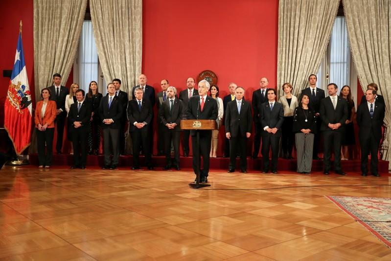 Chilean President Sebastian Pinera delivers a speech during a cabinet reshuffle at the government house in Santiago