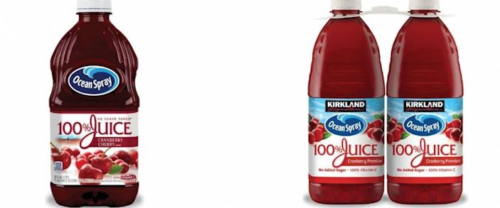Ocean Spray cranberry juice and Kirkland Signature Ocean Spray cranberry juice