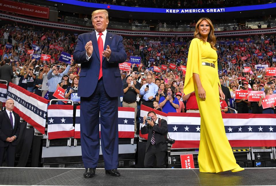 On June 18, the presidential couple kick-started the 2020 re-election campaign in Orlando. Making sure to stood out in the crowd, Melania Trump chose a £2,340 canary yellow Ralph Lauren jumpsuit for the occasion. [Photo: Getty]