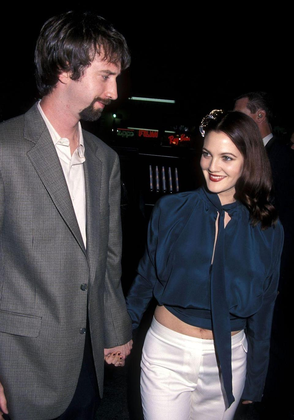 "<p>Tom Green and Drew Barrymore <a href=""http://people.com/celebrity/tom-green-files-for-a-divorce-from-drew/"" rel=""nofollow noopener"" target=""_blank"" data-ylk=""slk:began dating"" class=""link rapid-noclick-resp"">began dating</a> in March 2000 and then eloped to the South Pacific in March 2001. Green then filed for divorce from Barrymore in December 2001 after less than a year of marriage. </p>"