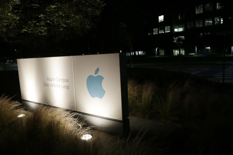A sign displays the Apple logo outside of the company's headquarters in Cupertino, Calif., Friday, June 7, 2013. A leaked document has laid bare the monumental scope of the government's surveillance of Americans' phone records — hundreds of millions of calls — in the first hard evidence of a massive data collection program aimed at combating terrorism under powers granted by Congress after the 9/11 attacks.The companies include Microsoft, Yahoo, Google, Facebook, PalTalk, AOL, Skype, YouTube and Apple.  (AP Photo/Marcio Jose Sanchez)