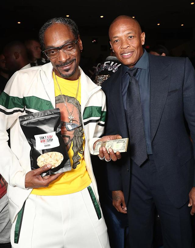 "<p>The rap icons were happy to support Sean ""Diddy"" Combs — who was once on the opposite side of the infamous East Coast vs. West Coast rap war of the '90s — at the L.A. premiere of the documentary <i>Can't Stop, Won't Stop: A Bad Boy Story</i>. (Photo: Todd Williamson/Getty Images) </p>"