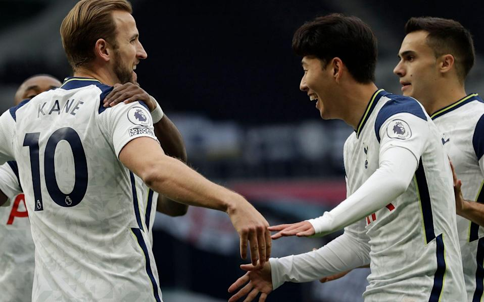 Tottenham's Harry Kane (L) celebrates with teammate Son Heung-min  - Shutterstock