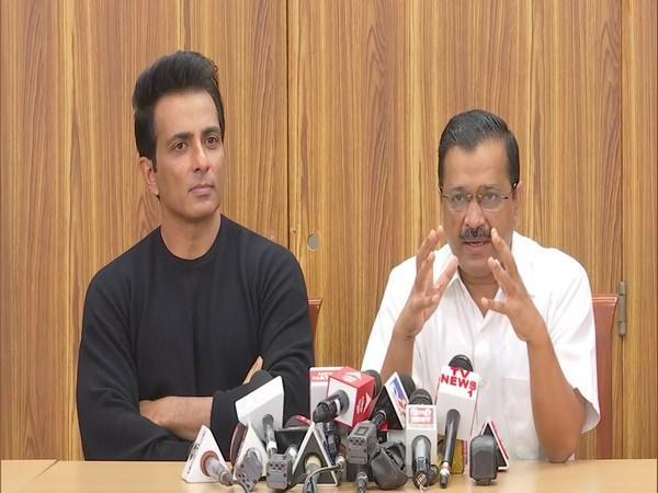 Delhi Chief Minister Arvind Kejriwal and Actor Sonu Sood at the press conference (Photo/ANI)