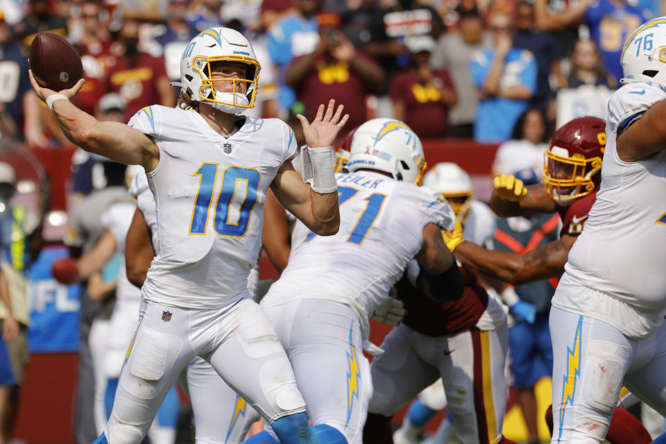 Los Angeles Chargers quarterback Justin Herbert threw for 337 yards in a 20-16 win over the Washington Football Team. (Geoff Burke/USA TODAY Sports)