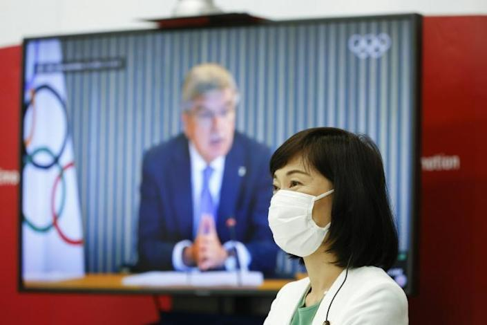 Tamayo Marukawa, Minister for the Tokyo Olympic and Paralympic Games, attends a five-party meeting also including IOC president Thomas Bach