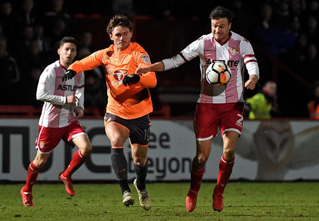 Soccer Football - FA Cup Third Round - Stevenage vs Reading - The Lamex Stadium, Stevenage, Britain - January 6, 2018 Reading's John Swift in action with Stevenage's Jonathan Smith Action Images/Alan Walter