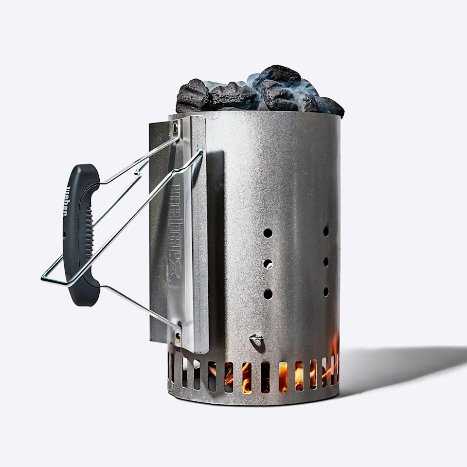 A charcoal chimney is the best way to get coals started quickly and efficiently without the need for lighter fluid, which can give food a nasty, chemical smell.