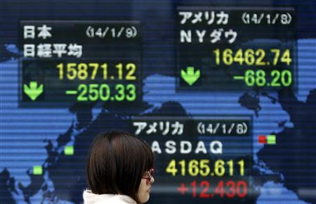 A pedestrian walks past at an electronic board displaying various countries' share prices outside a brokerage in Tokyo January 9, 2014. REUTERS/Yuya Shino