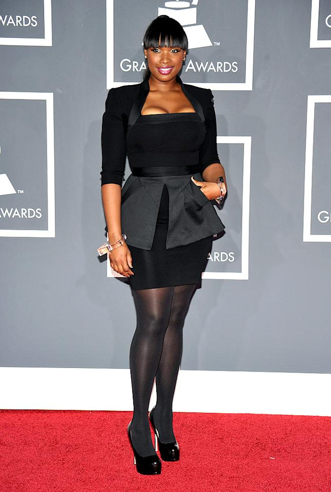 """Jennifer Hudson  Grade: A   The multi-talented superstar also rocked a Victoria Beckham beauty but accessorized with dark nylons, futuristic Lucite bangles, and Yves St. Laurent """"Trib Two"""" platform pumps. John Shearer/<a href=""""http://www.wireimage.com"""" target=""""new"""">WireImage.com</a> - January 31, 2010"""