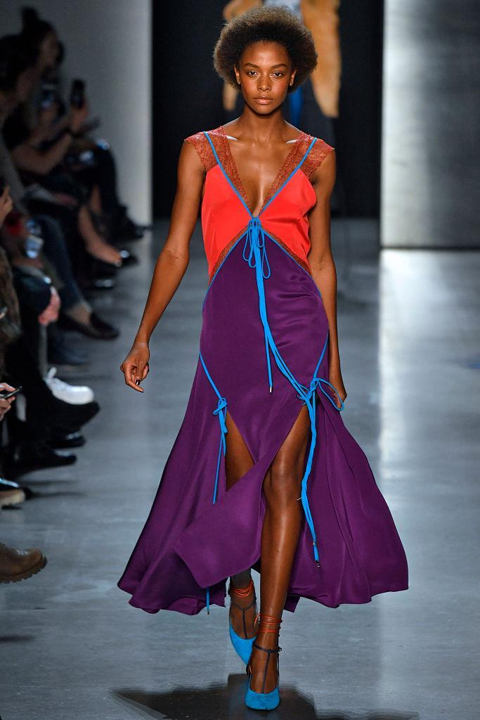 <p>A red-and-purple color-block dress at the Prabal Gurung FW18 show. (Photo: Getty) </p>