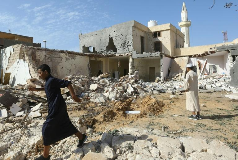 Libya's elections are part of a UN-backed process that has brought relative peace after years of turmoil, including an air strike on the outskirts of Tripoli where damage is pictured on October 14, 2019 (AFP/Mahmud TURKIA)