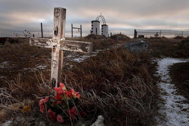 FILE - This Feb. 7, 2012 file photo shows a cross on a grave at the Wounded Knee National Historic landmark in South Dakota. Wednesday is the final day a landowner has given the Oglala Sioux Tribe to make an offer to buy a portion of the Wounded Knee National Historic Landmark. James Czywczynski has said he would sell the land, which sits next to where about 150 of the 300 Lakota men, women and children killed by the 7th Cavalry in 1890 are buried, and another piece of land for no less than $4.9 million. Tribal members have said the asking price is much too high. (AP Photo/Rapid City Journal, File)