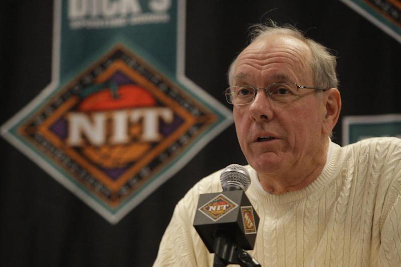 Jim Boeheim of Syracuse speaks during  a news conference to announce the NIT Season Tip-Off basketball tournament Tuesday, Nov. 22, 2011  in New York. The tournament will start Wednesday Nov. 23, 2011, at Madison Square Garden, in New York. (AP Photo/Frank Franklin II)