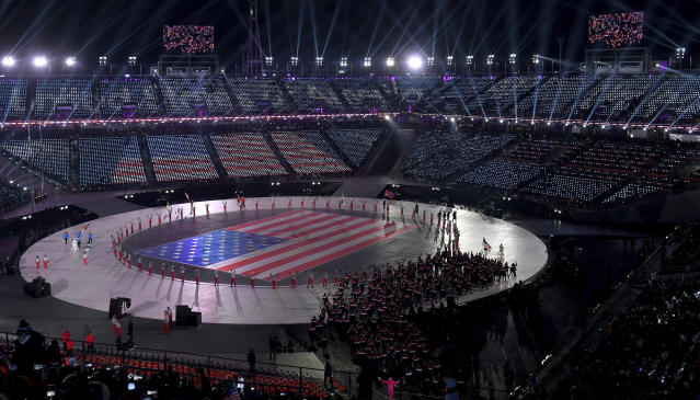 <p>The flag of the United States is displayed during the opening ceremony of the 2018 Winter Olympics in Pyeongchang, South Korea, Friday, Feb. 9, 2018. (Christof Stache/Pool Photo via AP) </p>