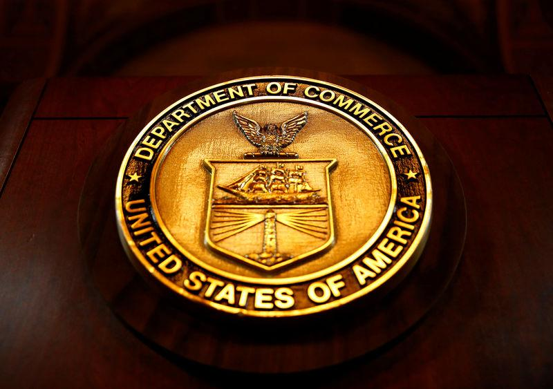 The seal of the Department of Commerce is pictured in Washington