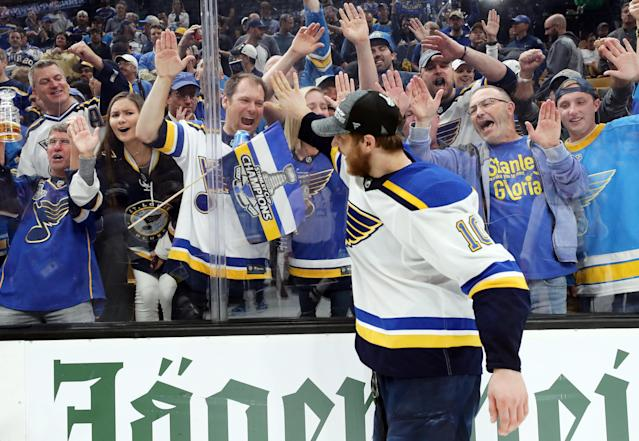 Brayden Schenn #10 of the St. Louis Blues celebrates with the fans after defeating the Boston Bruins in Game Seven of the 2019 NHL Stanley Cup Final at TD Garden on June 12, 2019 in Boston, Massachusetts. (Photo by Bruce Bennett/Getty Images)
