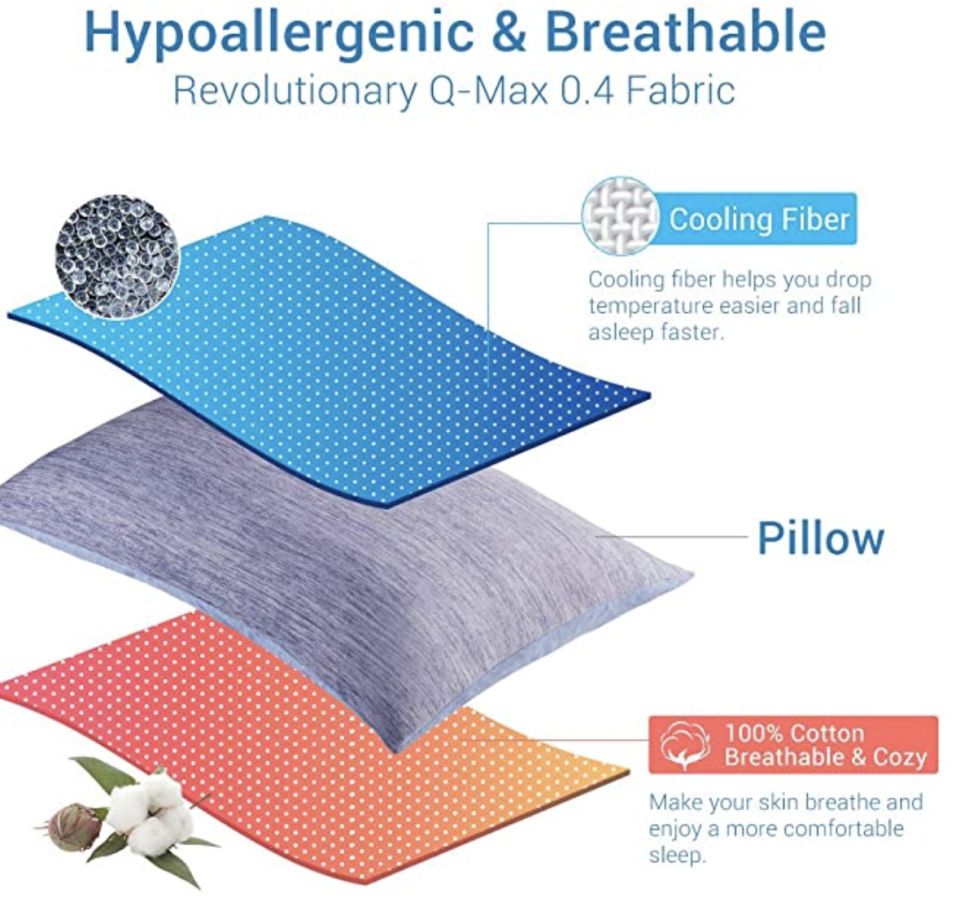 PHOTO: Amazon. Cooling Pillowcase, 2 Pack Cooling Pillow Cover with Japanese Q-Max 0.55 Cooling Fiber
