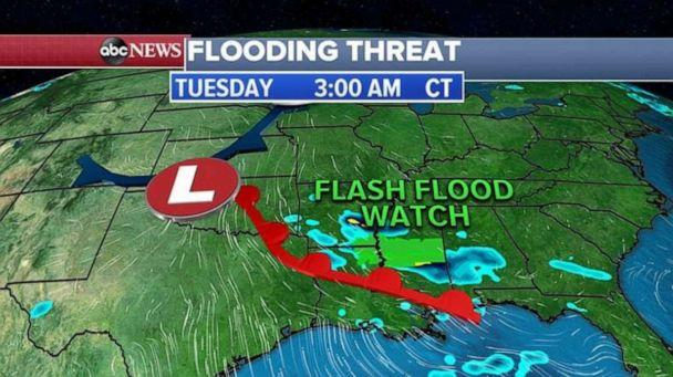 PHOTO: Already this morning ahead of the storm, 3 states -– Arkansas, Louisiana and Mississippi -- are under Flash Flood Watch. (ABC News)
