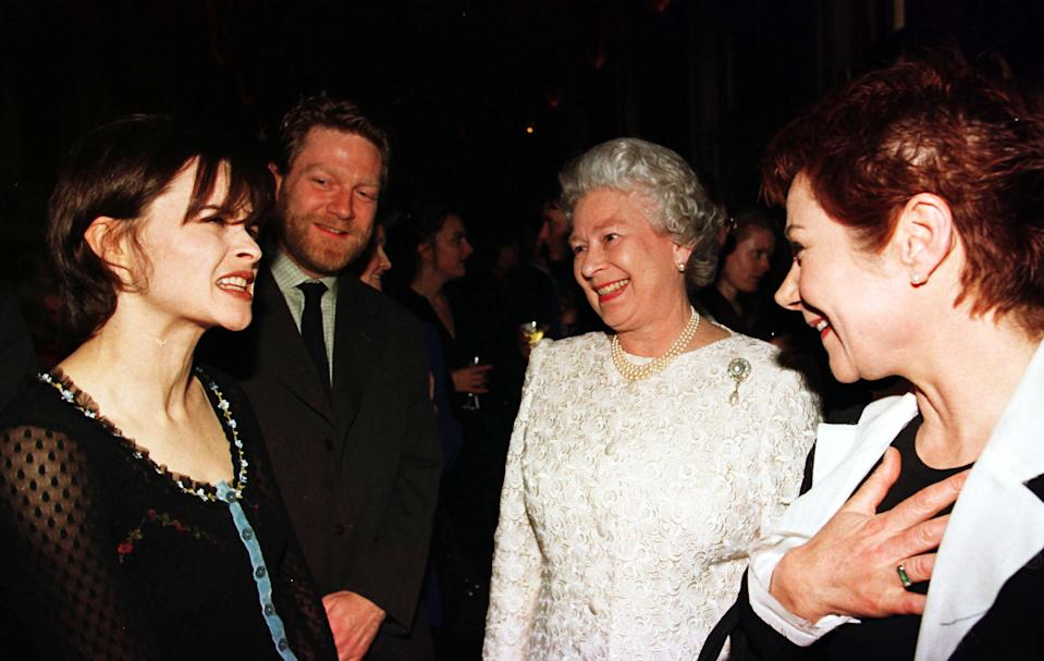 Oscar nominated actress  Helena Bonham Carter (left), film maker Kenneth Branagh and actress Zoe Wanamaker (right) chat to the Queen at a reception for the Arts at Windsor Castle tonight (Wednesday). Photograph by Fiona Hanson/PA   (Photo by Fiona Hanson - PA Images/PA Images via Getty Images)