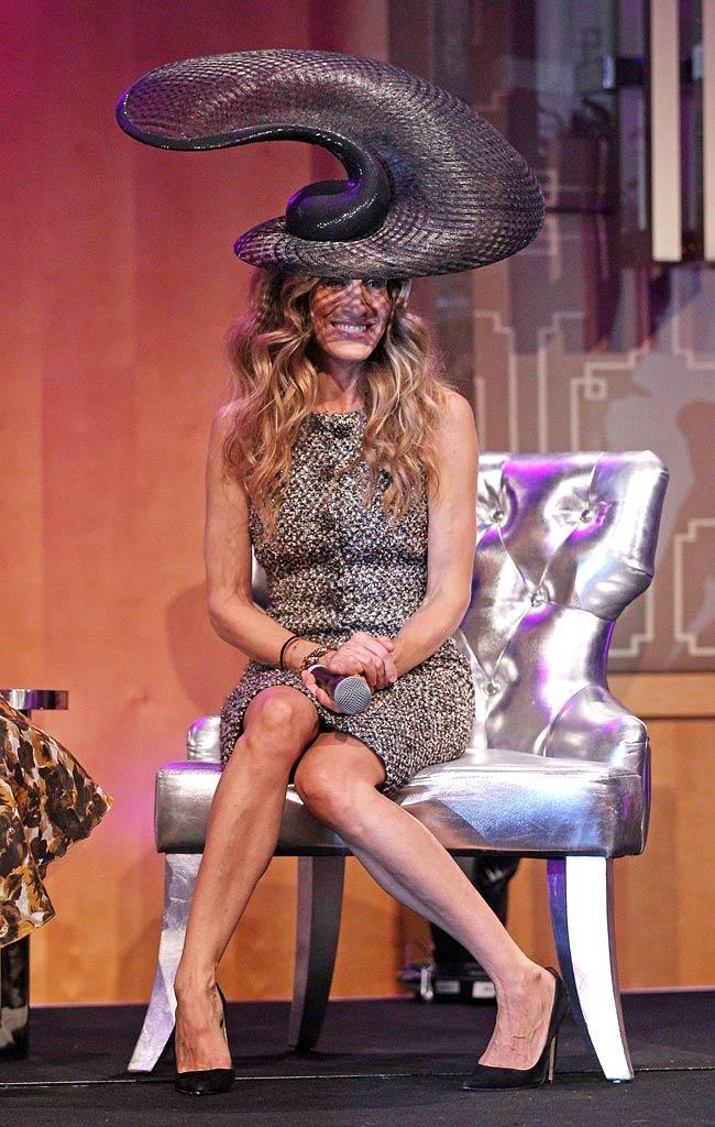 Sarah Jessica Parker always pushes the envelope when it comes to fashion, but the style icon went a bit too far with the satellite dish, er, Philip Treacy-designed topper she donned to the VRC Oaks Club Ladies Luncheon in Melbourne, Australia. While her Chanel dress is hot ... that hat is definitely not! (11/2/2011)